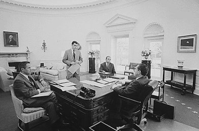 Nixon in Oval Office with Haldeman and Ehrlichman