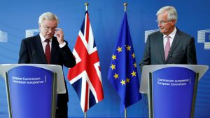 Britain's SoS for Exiting the EU Davis and EU's chief Brexit negotiator Barnier talk to the media ahead of Brexit talks in Brussels